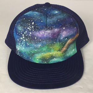 VINTAGE Hand Painted Blue Trucker Hat Galaxy